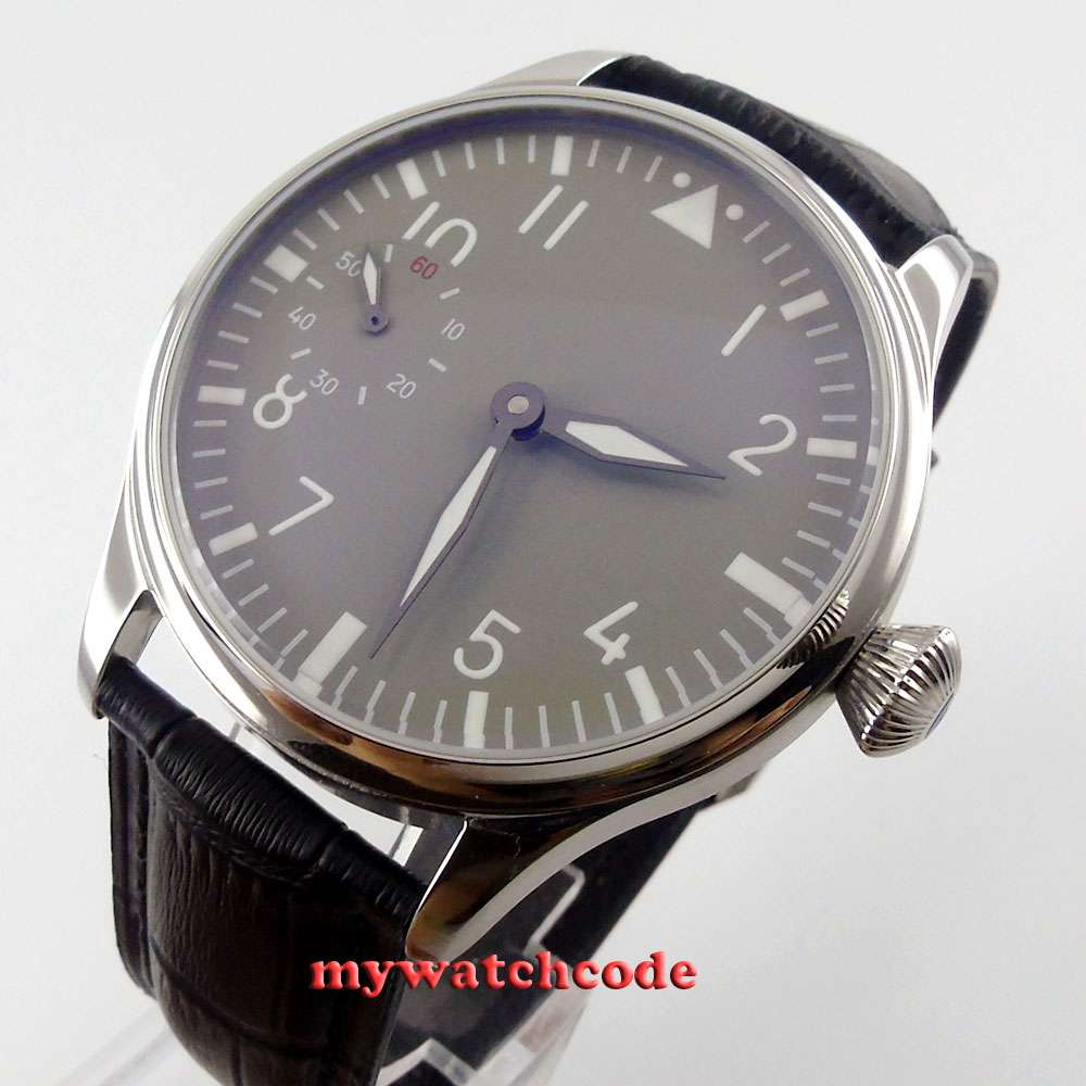 44mm parnis grey dial luminous marks 6497 movement hand winding mens watch P458 все цены