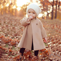 2015 Children Girls Wool Coats Khaki Fashion Double-breasted Woolen Trench Kids Winter O-Neck A-Line Jacket Warm Cotton Clothes