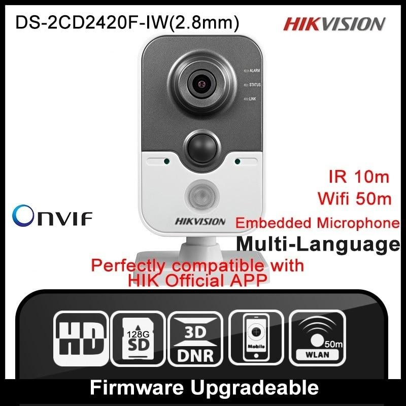 HIKVISION DS-2CD2420F-IW(2.8mm) Original English Version IP Camera 2MP Support POE WIFI Mini Camera IP Camera P2P Onvif  HD HIK hikvision ds 2de7230iw ae english version 2mp 1080p ip camera ptz camera 4 3mm 129mm 30x zoom support ezviz ip66 outdoor poe
