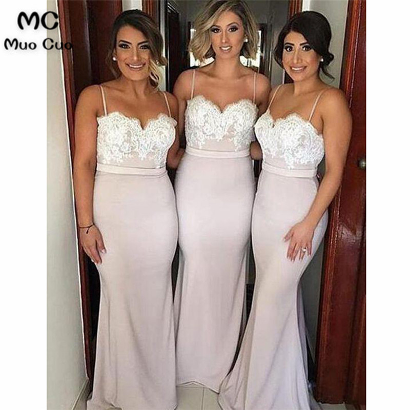 2018 Mermaid Bridesmaid Dresses Long Sweetheart Formal Wedding Party Dress Straps Button Zipper Women Bridesmaid Dress