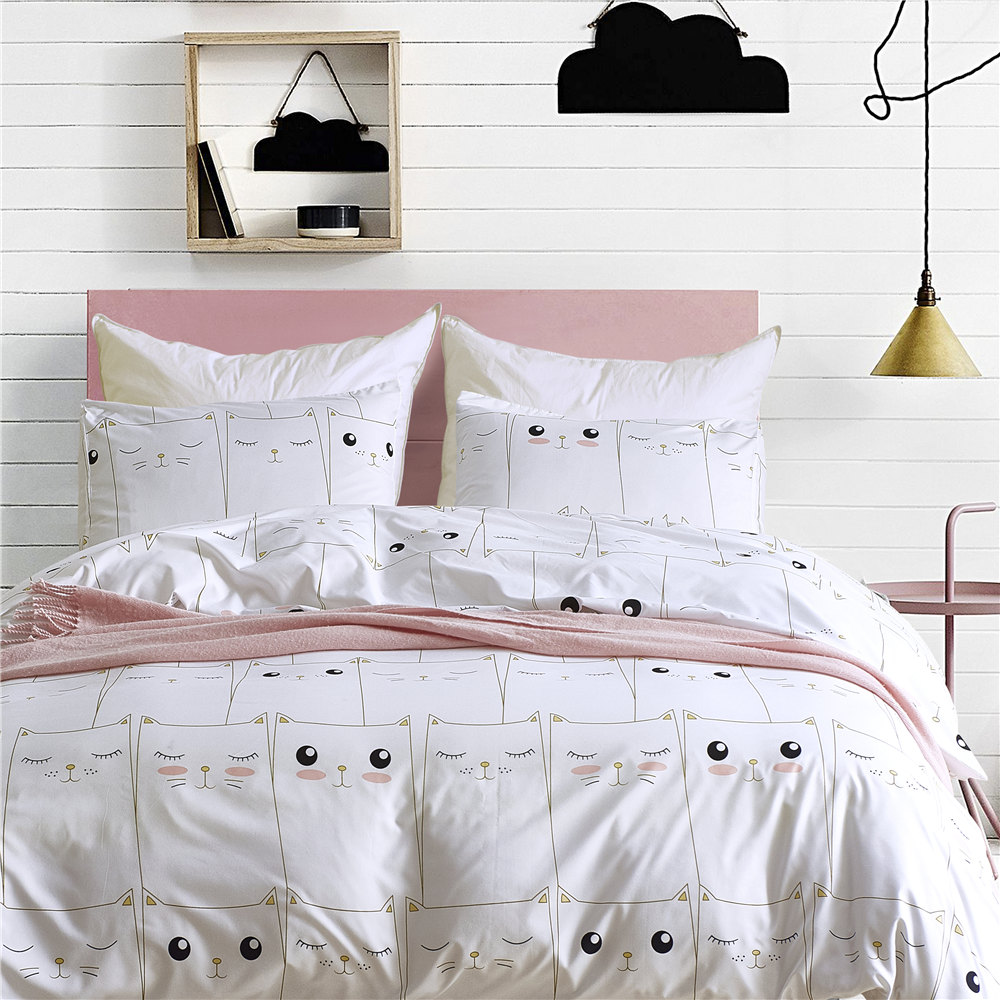 Girls Bed Linen Set Korean Brief Bedding Set Bed Bedclothes Microfiber White Comforter D ...