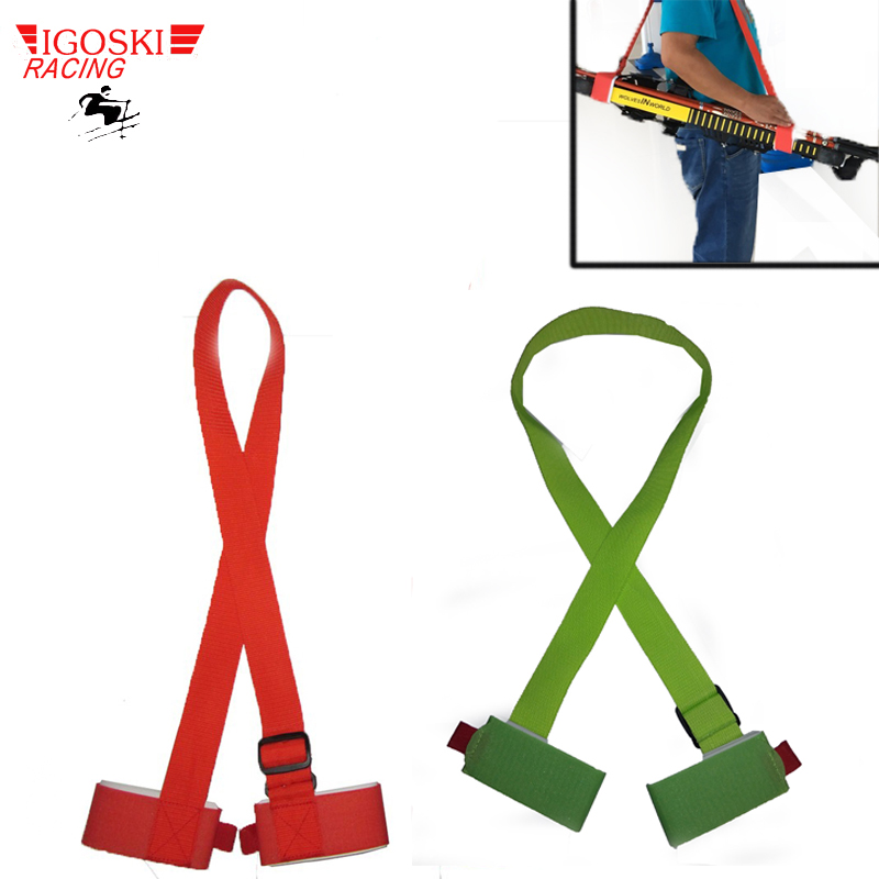 Igoski Ski Snowboard Easy Handbag Cross Country Ski Pole Shoulder Carrier Strap Bag Green And Red