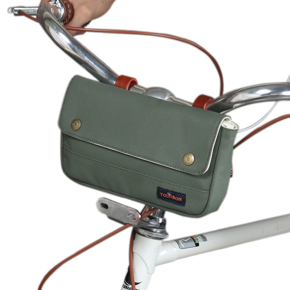 Tourbon Retro Canvas Bicycle Handlebar Bag Tube Pouch Saddle Bags Rear Frame Bag Multipurpose Bike Accessories Water Repellent