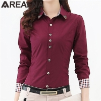AREALNA 2017 Fashion Shirt Women Tops Plaid Long Sleeve Beaded Diamond Ladies Office Shirts OL Business