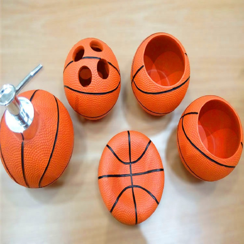 Cute Basketball Resin Bathroom Accessories 5 Pieces Conjunto Para Banheiro  Wedding Gift Bathroom Set Resin Bathroom Accessories In Bathroom Accessories  Sets ...