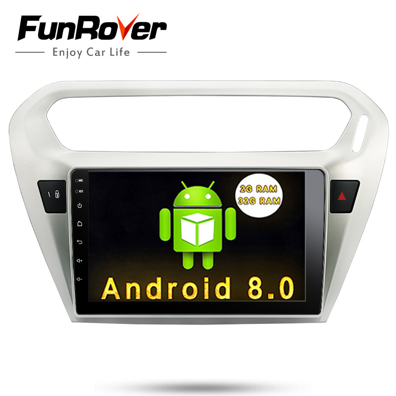 Funrover 9 inch Android 8.0 2 din Car DVD Player for Peugeot 301 for Citroen Elysee 2014+ gps radio tape record stereo wifi usb