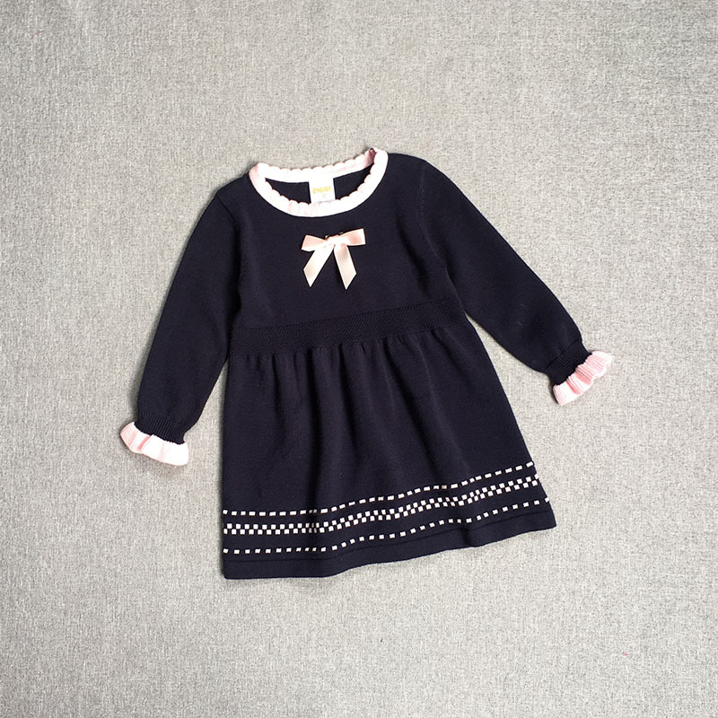 Kids Spring Autumn Fashion Baby Girl A-line Sweater Dresses Knitted Long-sleeve O-Neck Children Clothing Party Wear with bow girl sweater dress superfine wool knitted dress 2015 o neck pocket long sweater tassels christmas children clothing kids dresses