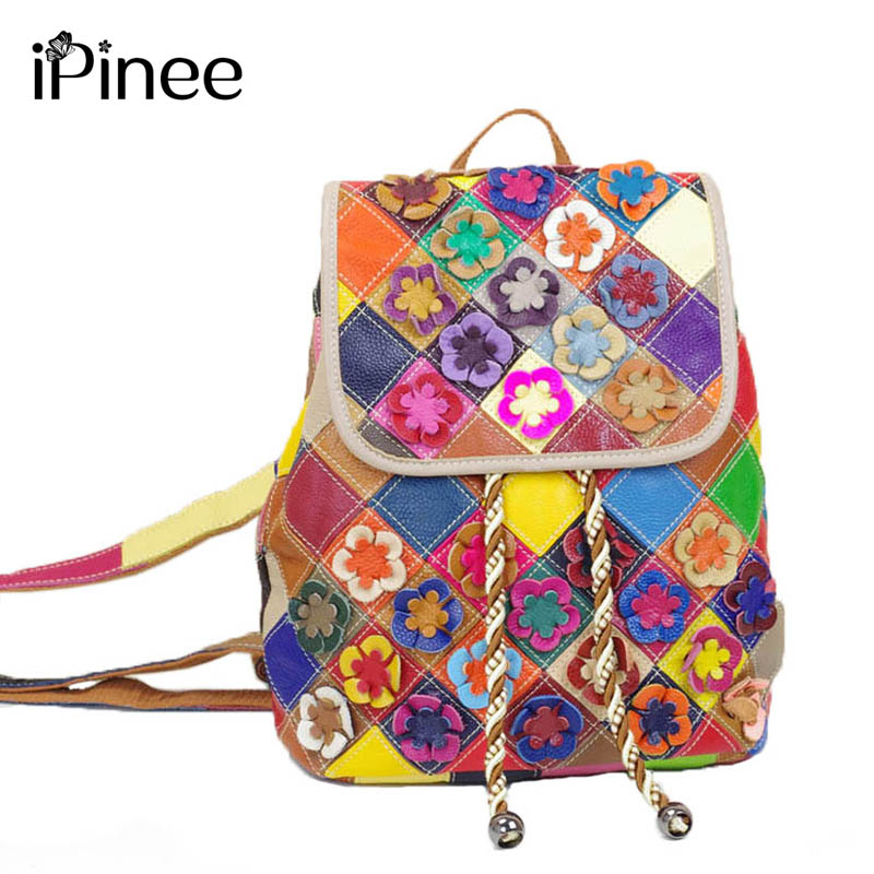 iPinee Fashion Women Backpack With Applique Flowers Summer New Design Female Genuine Leather Bag Casual School