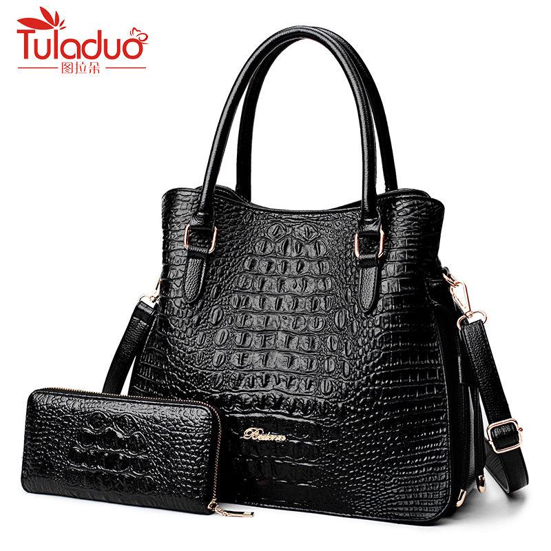 2018 Alligator 2 PC Purses Handbag Luxury Handbags Women Bags Large Tote Bags for Women Brand Ladies Crossbody Bag Sac A Main