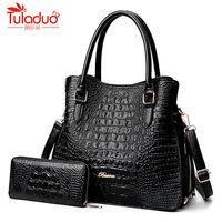 2018 Alligator 2 PC Purses Handbag Luxury Handbags Women Bags Large Tote Bags For Women Brand