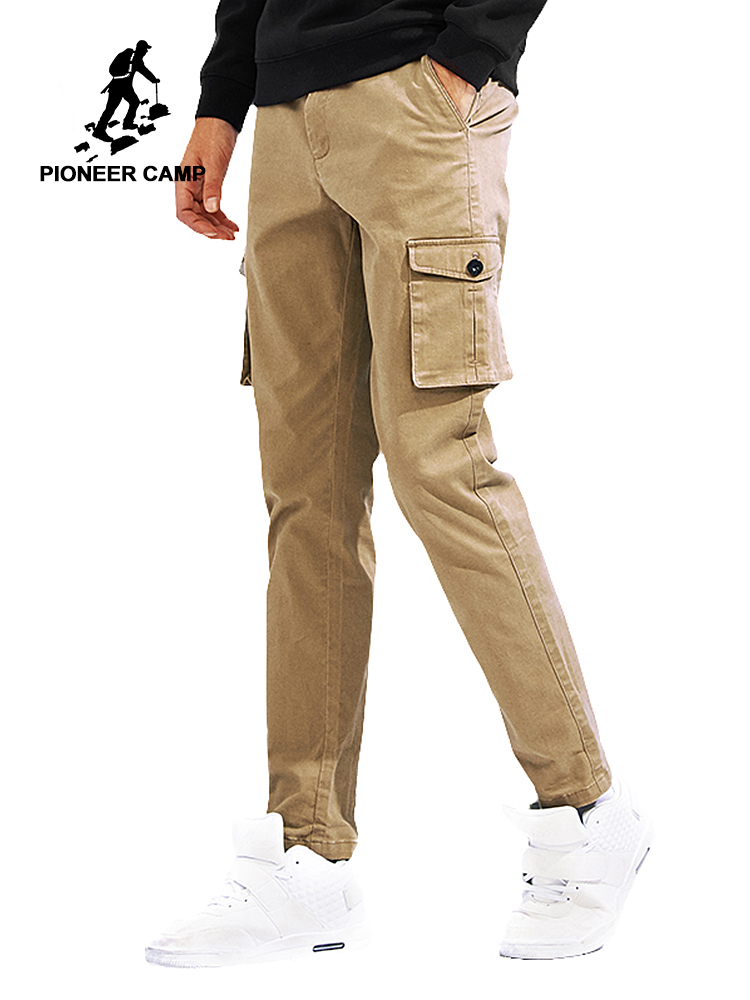 Pioneer Camp new cargo pants men brand clothing solid Multi-Pocket casual trousers men quality stretch khaki dark grey AXX705087