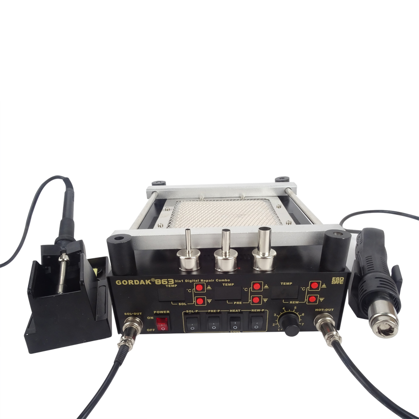 Gordak 863 Digita Hot Air Heat Gun BGA Rework Solder Station+Electric Soldering iron+IR Infrared Preheating Station
