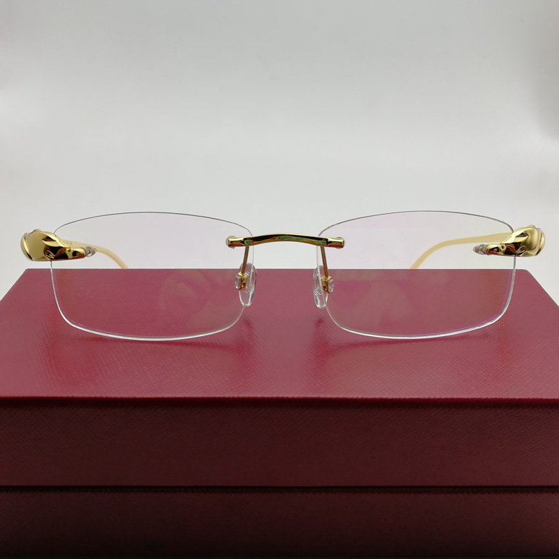 Compre Homens Titanium Alloy Leopard Óculos Frames Sem Aro Quadrados ... 1dec34d6b6