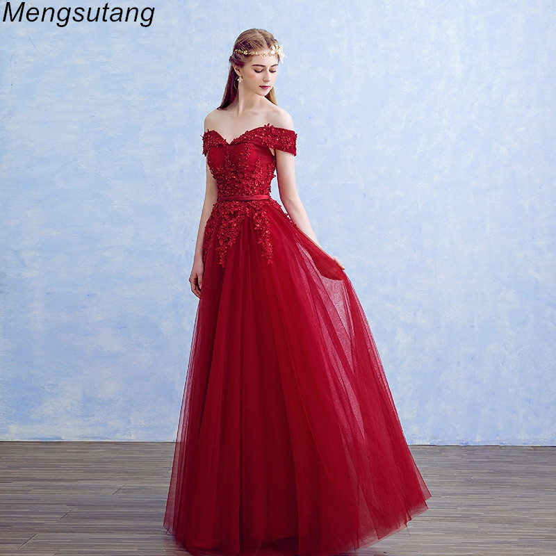Robe de soiree Boat Neck Beading with Appliques Long   Evening     Dresses   Elegant Lace vestido de festa Banquet Party Prom   dresses
