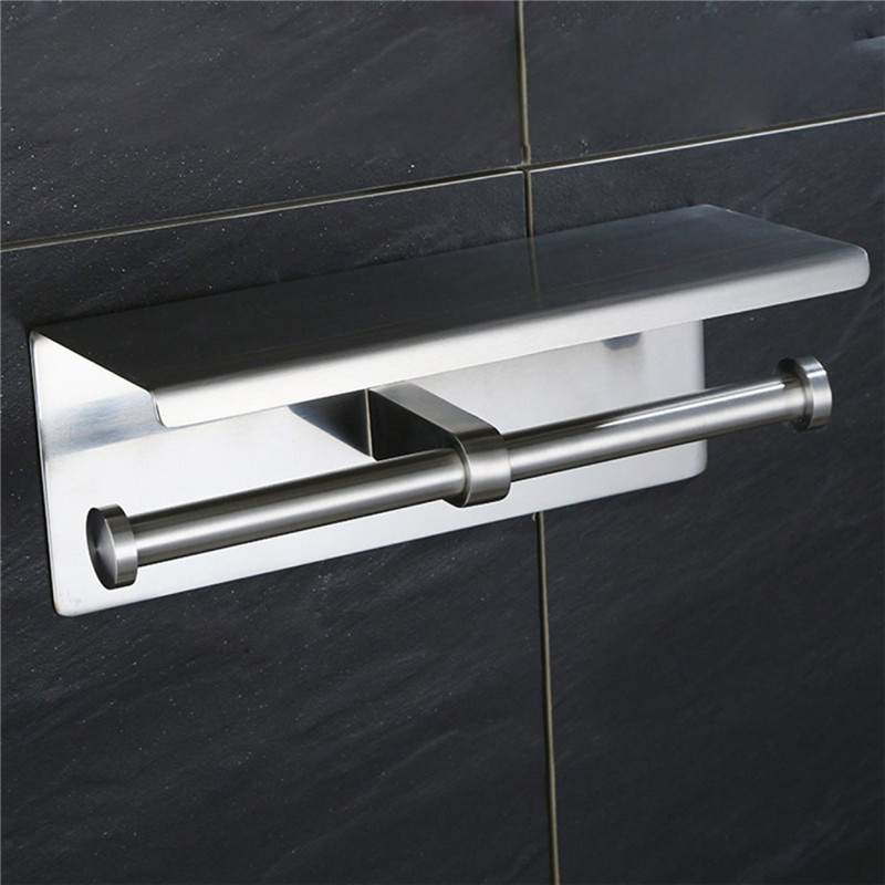 Double  Phone Brushed Leyden with Steel Stainless Bathroom Mounted Toilet Wall Paper Accessory Shelf Holder Mobile Nickel 3
