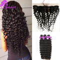 Ear To Ear Lace Frontal Closure With 3 Bundles Deep Wave Brazilian Virgin Hair With Closure Brazilian Human Hair Lace Frontals