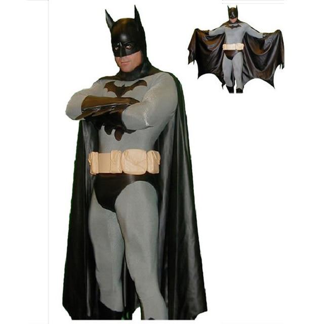 black batman costume men cosplay adult halloween costumes for men full bodysuit zentai cape mask superhero - Halloween Costumes With A Cape