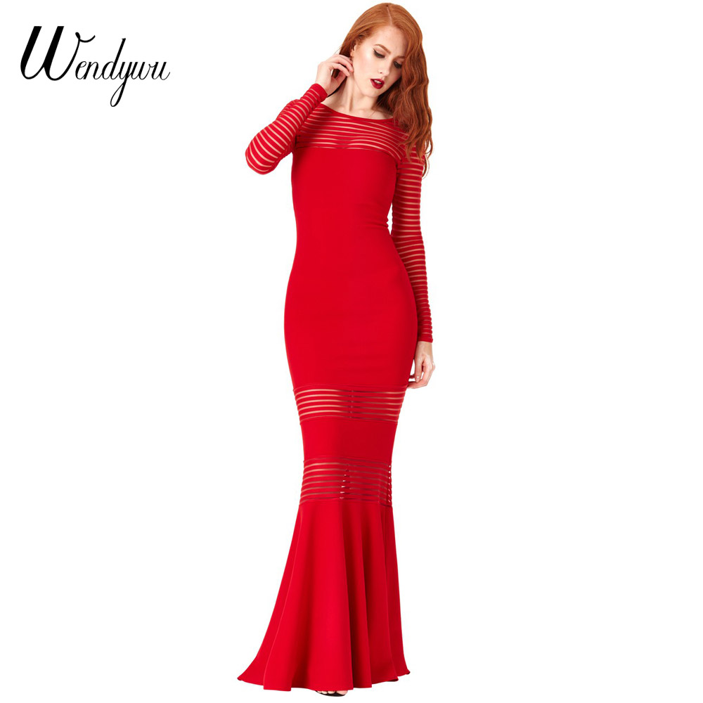 Wendywu Novelty Women Fashionable Long Sleeve Solid Red Striped Prom Mermaid Long Dress