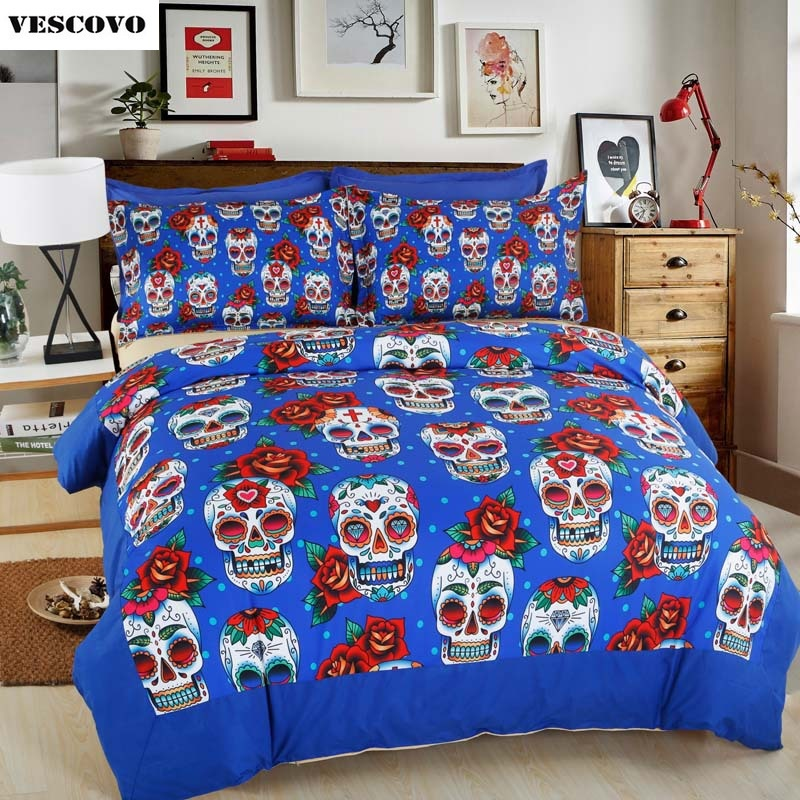 4pcs luxury skull bedding set 3d duvet cover set female bedding sets king queen twin size
