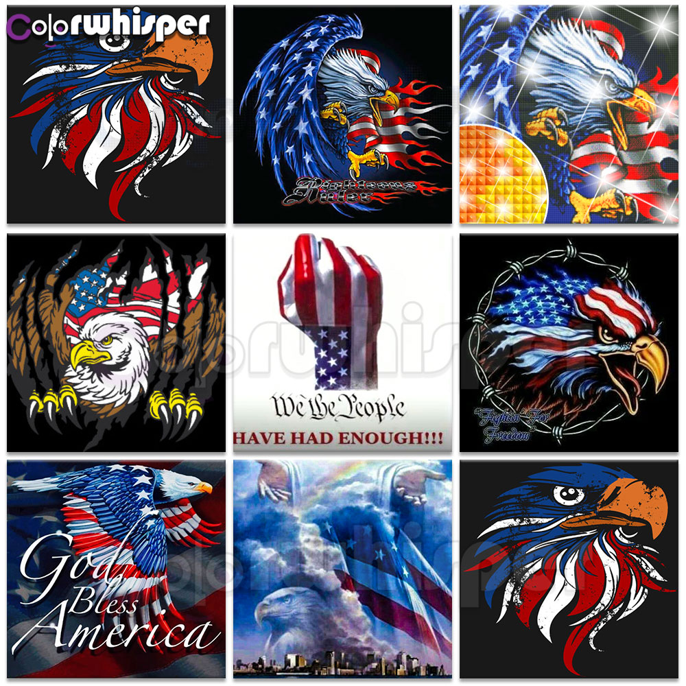 Diamond Painting Full Square/Round Drill Patriotic American Bald Eagle Usa Flag Daimond Painting Mosaic Cross Stitch Picture 597 action figure pokemon
