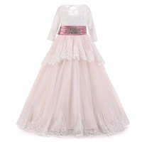 Ball Gown Long Sleeve Flower Girl Dresses 2018 First Communion Dress For Girls Sashes Kids Pageant