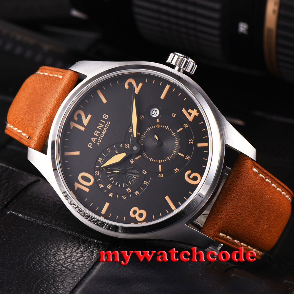 44mm parnis black dial orange marks date 21 jewels miyota automatic mens watch все цены