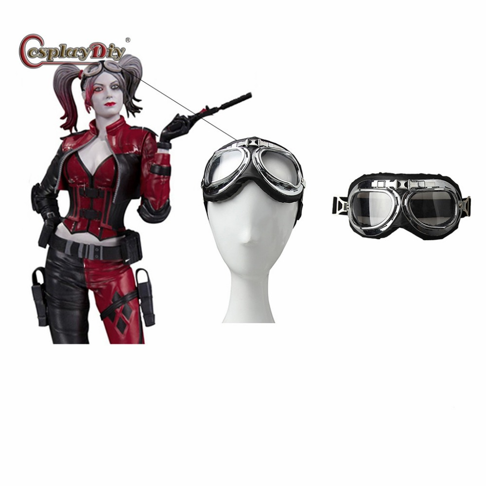 Injustice 2 Harley Quinn Cosplay Glasses Harley Quinn Steampunk Gothic Goggles Flying Scooter Helmet Glasses Costume Accessories