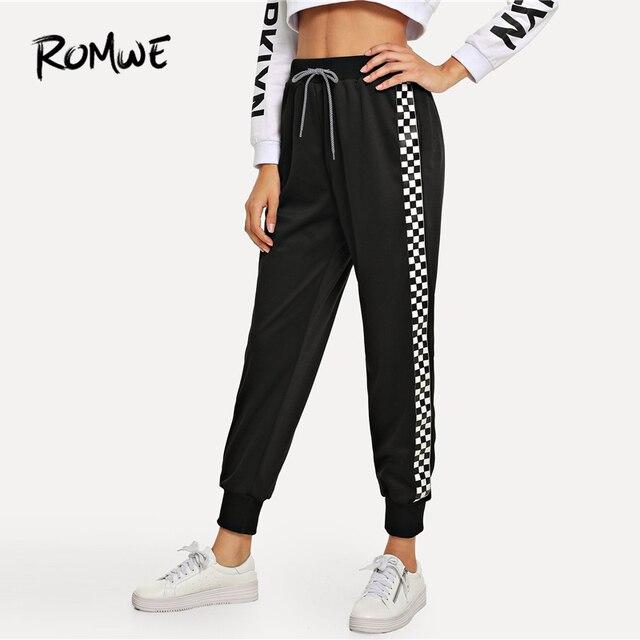 3f33630c2f23d8 ROMWE Black Drawstring Waist Plaid Panel Pants Women Casual Autumn High  Waist Bottoms Sporty Sweatpants Female