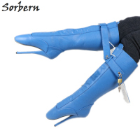 Sorbern Blue Sexy Fetish High Ballet Boot Pointed Toe Knee High Boot For Women Lockable Zip Padlock Black Matte Multi Color
