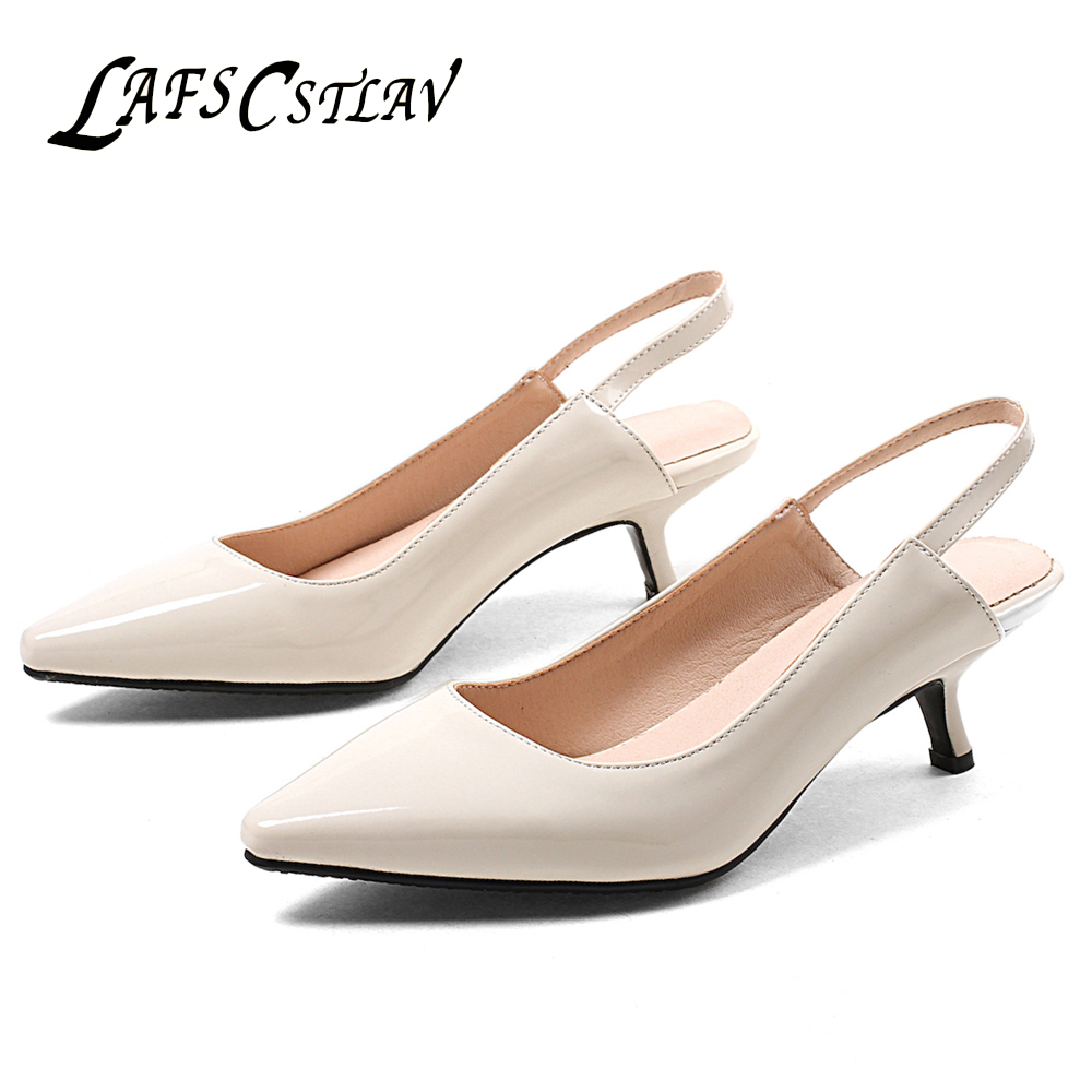 LAFS CSTLAV Fashion Summer Med Heel Sandal Women Comfortable Thin Heel Pointed Plus Size High Quality Dress Career Shoe Lady H5