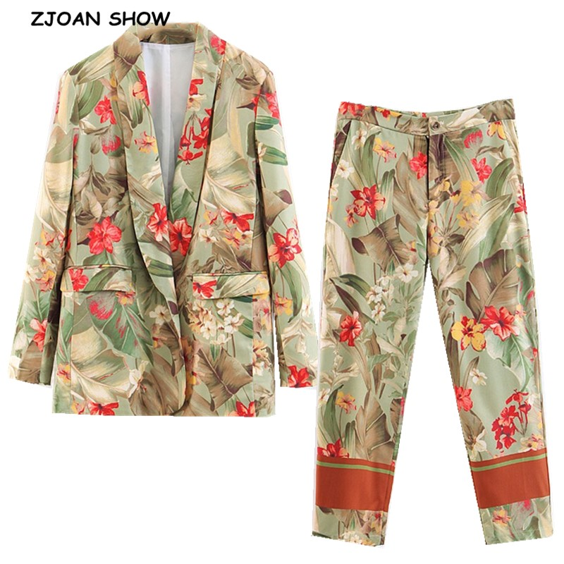 2019 New Spring Green Leaves Red Flower Print Blazer High Waist Small Straight Pants Women Long Sleeve Suits 2 Pieces Set