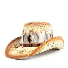 Богемная женская соломенная ковбойская шляпа с перьями, Женская пляжная ковбойская шляпа, джазовая шляпа от солнца, размер 56-58 см