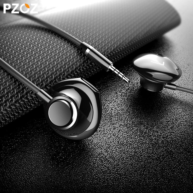 Pzoz In-ear Stereo Bass Earphone 3.5mm jack wired control With Mic Earbuds Headset for iPhone samsung Mobile Phone misr t3 wired earphone metal in ear headset magnet for phone with mic microphone stereo bass earbuds