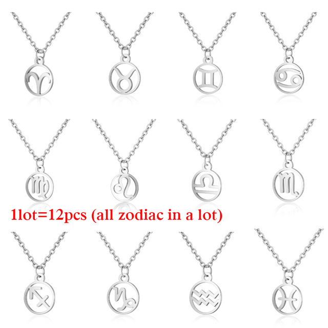 US $11 87 7% OFF|12pcs/lot All 12 Zodiac Signs Pendant Necklace Original  Steel Color Constellations Charm Necklace Jewelry Gifts for Women-in  Pendant