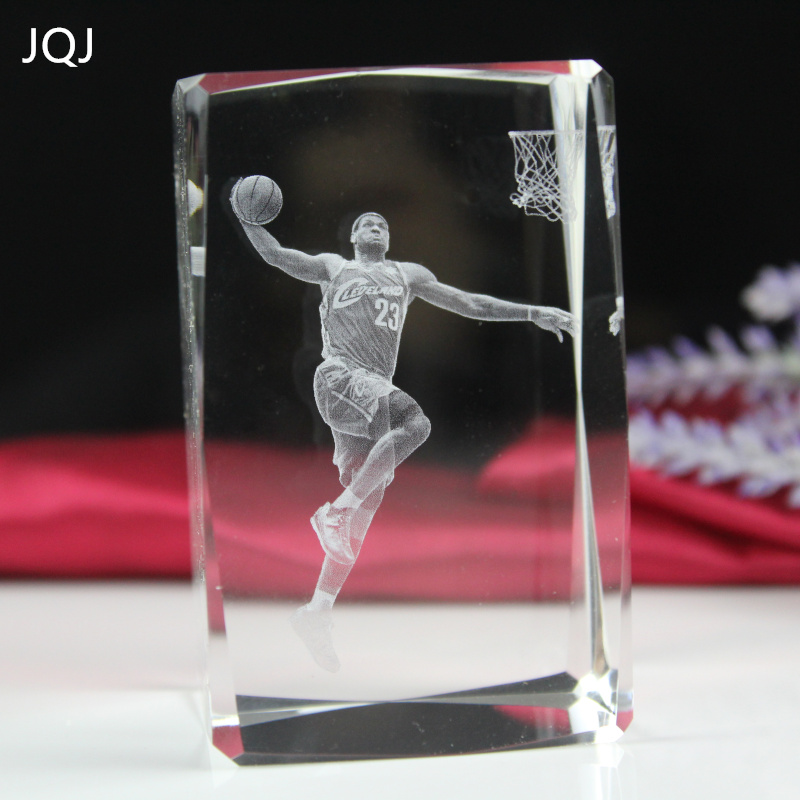 JQJ Crystal Glass Cube LeBron James statue Engraved figurines miniatures Craft 3D Crystals NBA Sports Star Home Desk Ornaments