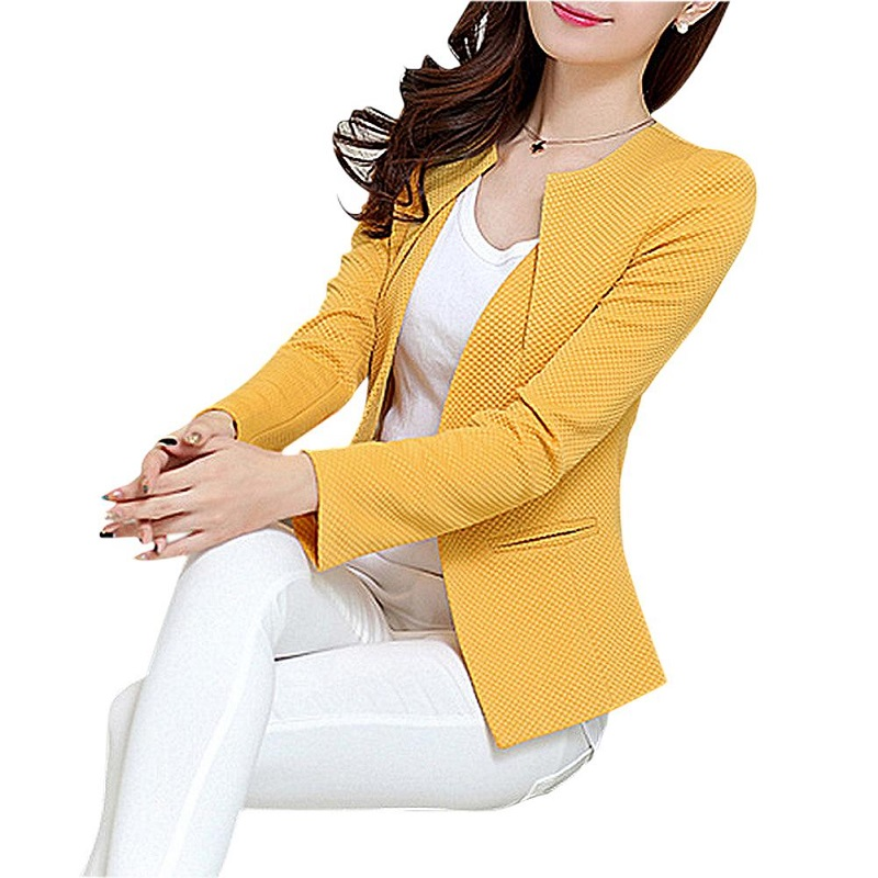 Wholesale Spring Women Slim Blazer Coat 2019 Plus Size Casual Jacket Long Sleeve One Button Suit Lady Blazers Work Wear TOP Y068