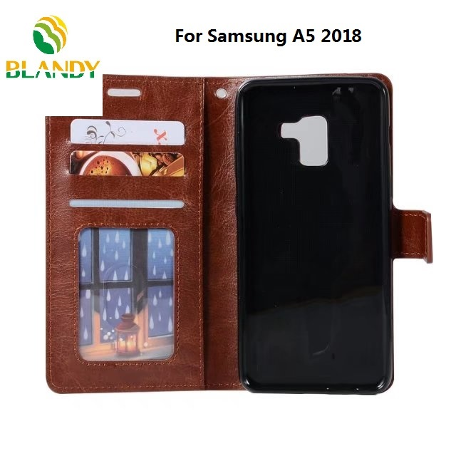 50pcs lot free shipping for Samsung A7 2018 Soft TPU PU Leather Crazy Horse Wallet cover