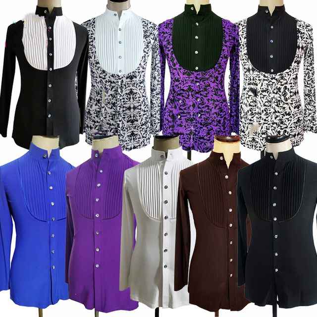 Latin Dance Shirts Men Printing Long Sleeve Tops Modern Dance Clothing Ballroom Shirt Competition Stage Performance Wear DN1926