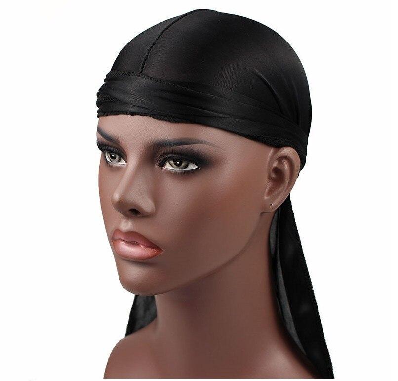 New Fashion Men's Satin Durags Bandanna Turban Wigs Men Silky Durag Headwear Headband Pirate Hat Hair Accessorie