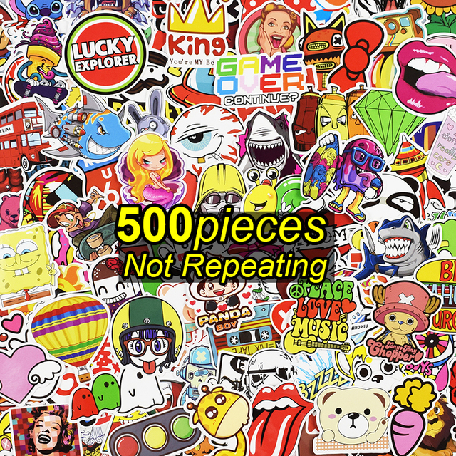 500 Pcs Sticker for Laptop Skateboard Luggage Waterpoof Creative Funny Decals Fridge Phone Car Styling Home Toy Doodle Stickers