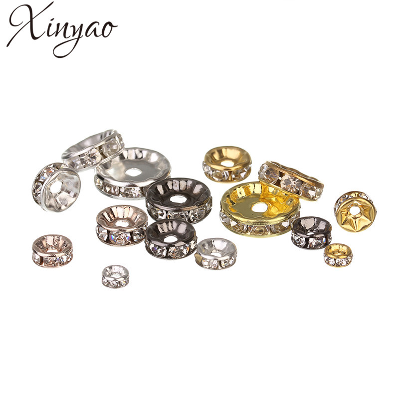 XINYAO 50pcs Gold Silver Color Loose Rhinestone Crystal Beads 6 8 10 12 mm Metal Rondelle Spacer Beads For Diy Jewelry Making