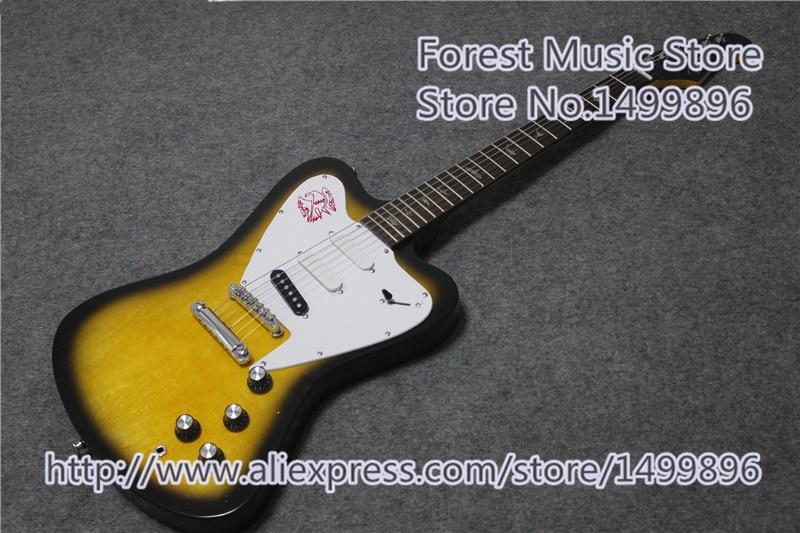 Haute qualité Vintage Sunburst Firebird guitares électriques Chrome matériel chine OEM guitare Kit disponible