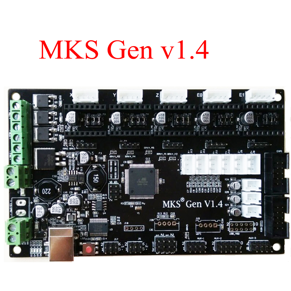 Pcb Controlador Mks Gen V14 Integrado Mainboard Compatible Ramps14 Mega2560 R3 Apoyo A4988 Drv8825 Tmc2100