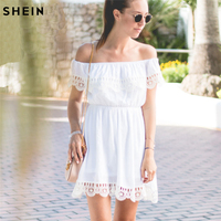 SHEIN White Off the Shoulder Contrast Lace Dress,Women Summer Fashion Elegant Smart-Casual Shift Dress,Office Lady Clothing