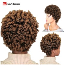 Wignee Short Hair Afro Kinky Curly Wig High Density Temperature Syntetisk Paryk För Kvinnor Blandad Brun Cosplay African Hairstyles