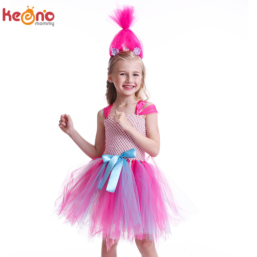 Poppy with Headband Costume Trolls Halloween Fancy Dress