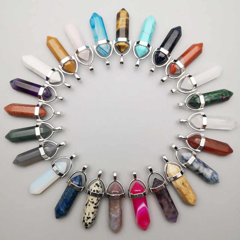 Pedra natural pilar de cristal pingentes & colares para fazer jóias moda mista charme ponto na moda 24 pçs/lote frete grátis