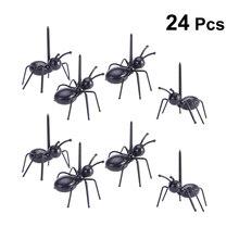 24 шт муравьи еда медиаторы многоразовые муравьи зубочистки фрукты десерт вилки для закуски закуска пирог десерт(черный