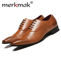 Merkmak Men Shoes 2019 New Arrival Dress Shoes High Quality Business Leather Lace up Footwear Formal Shoes for Wedding Party