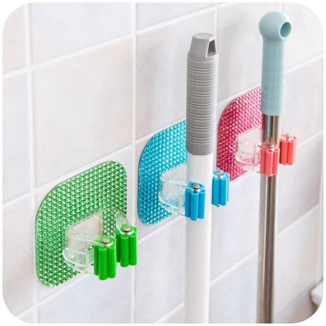 1pcs Kitchen Wall Mounted Mop Rack Bathroom Storage Holder Durable Brush Broom Organizer